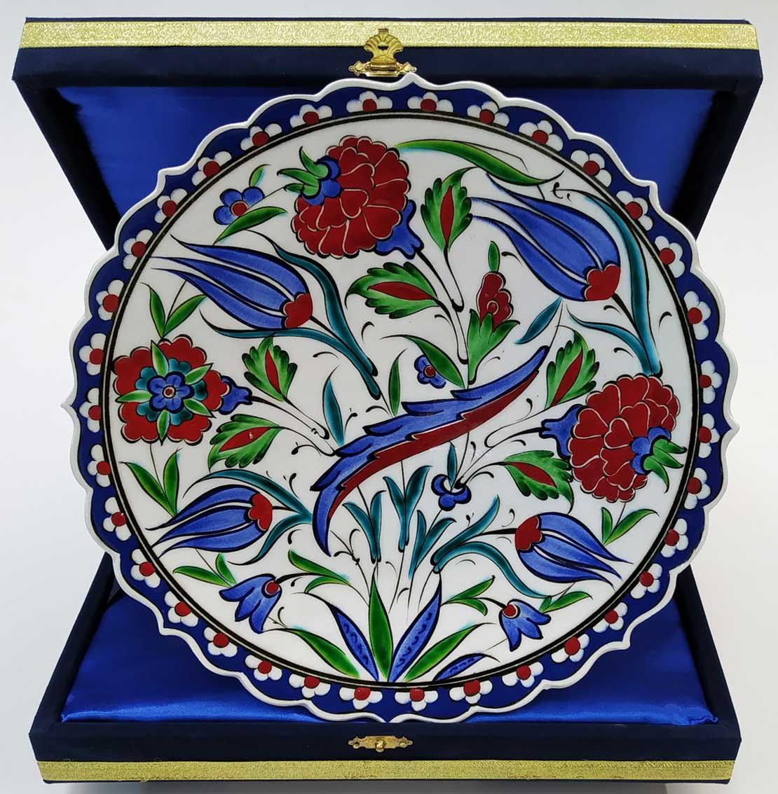 Hançer Yaprağı Gül lale desenli kadife kutulu hediyelik klasik Osmanlı Çini Tabaklar