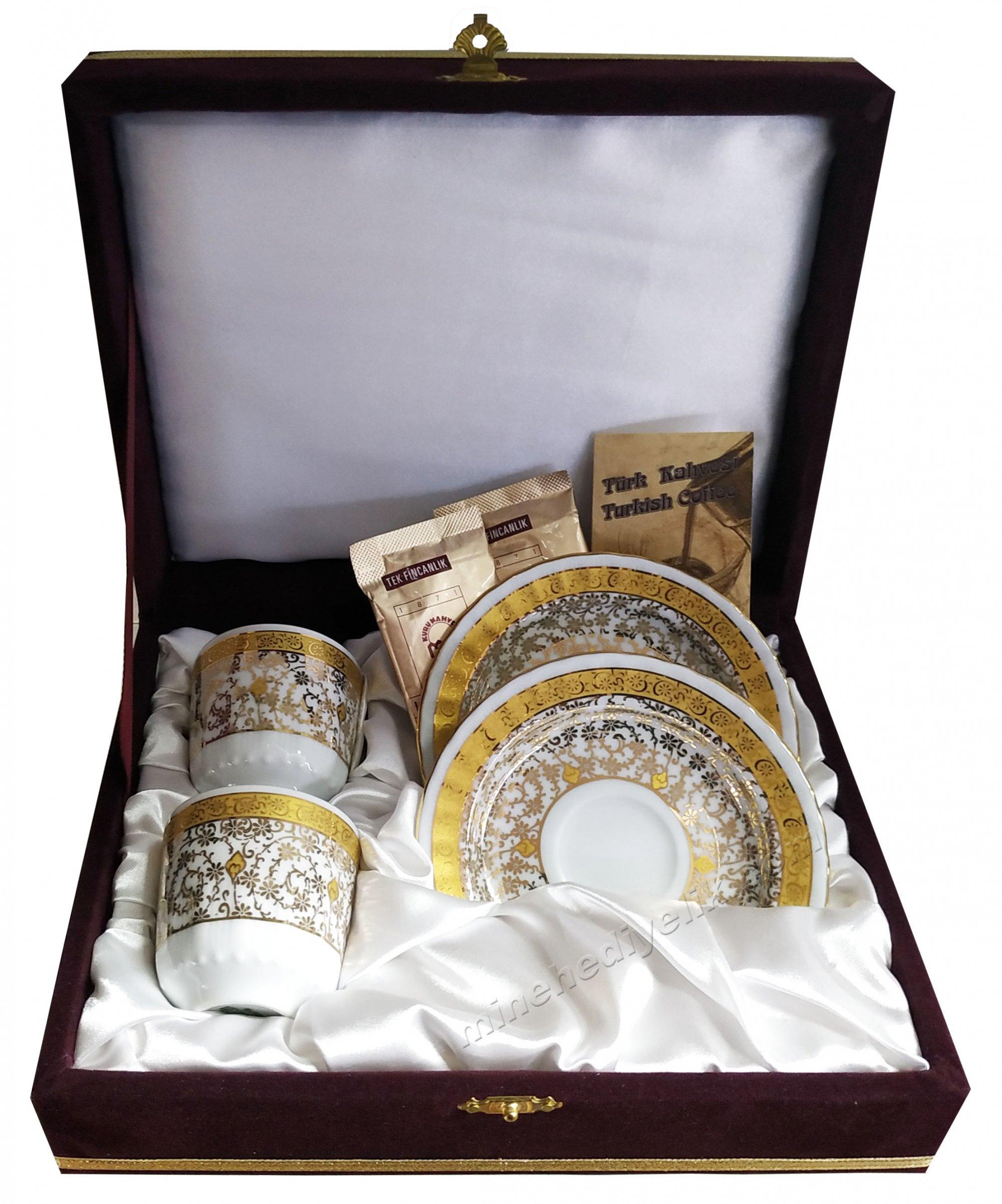 Kaliteli 2 Kişilik Çiftli Kahve Fincan Setleri Özel Tasarım Kutularda Yeni Model Fincanlar Altın Haliç Desenli