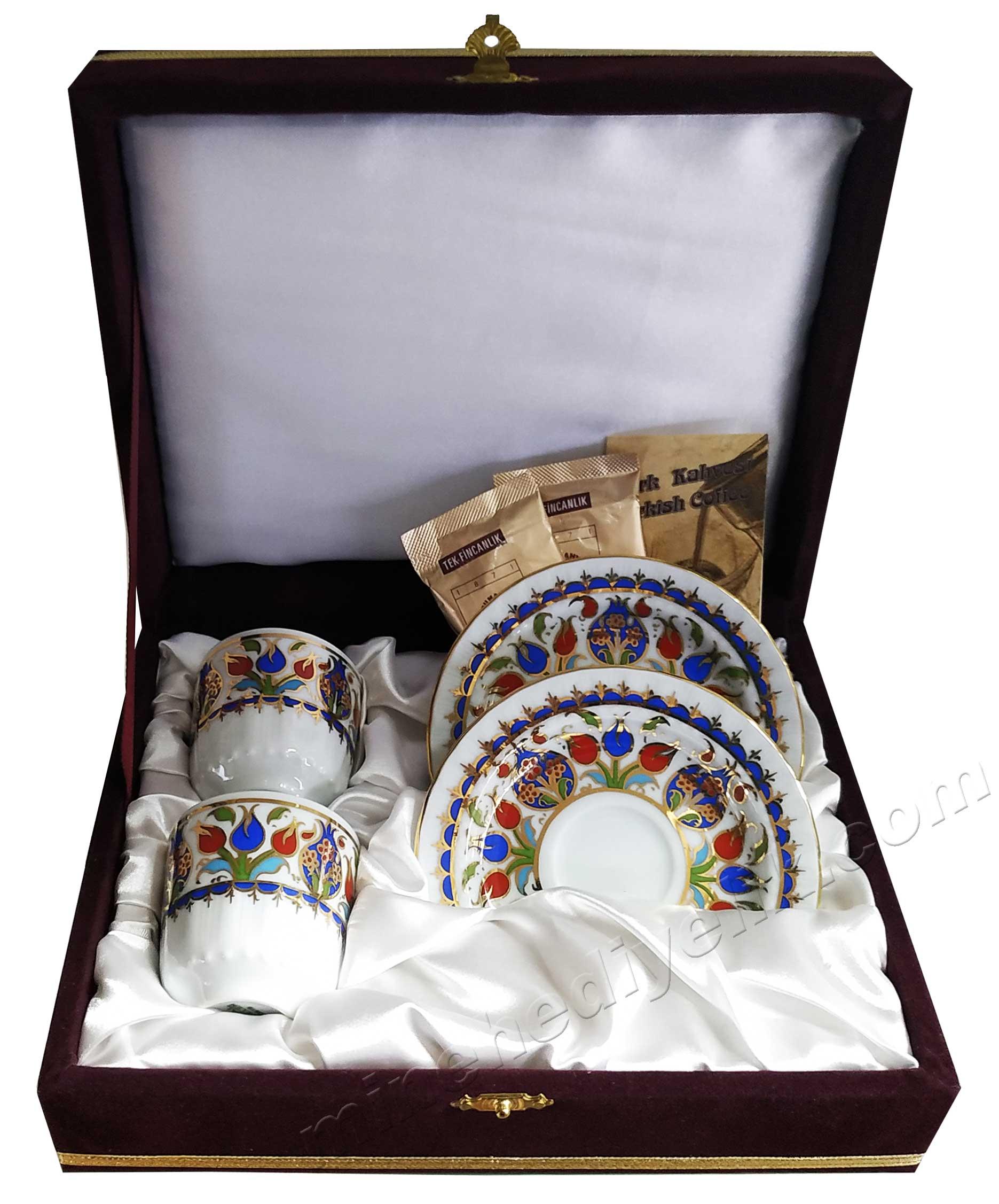 Kaliteli Kişilik Kahve Fincan Setleri Özel Tasarım Kutularda Nar Çiçeği Motifli 2'li Fincan Setleri Osmanlı Fincanı