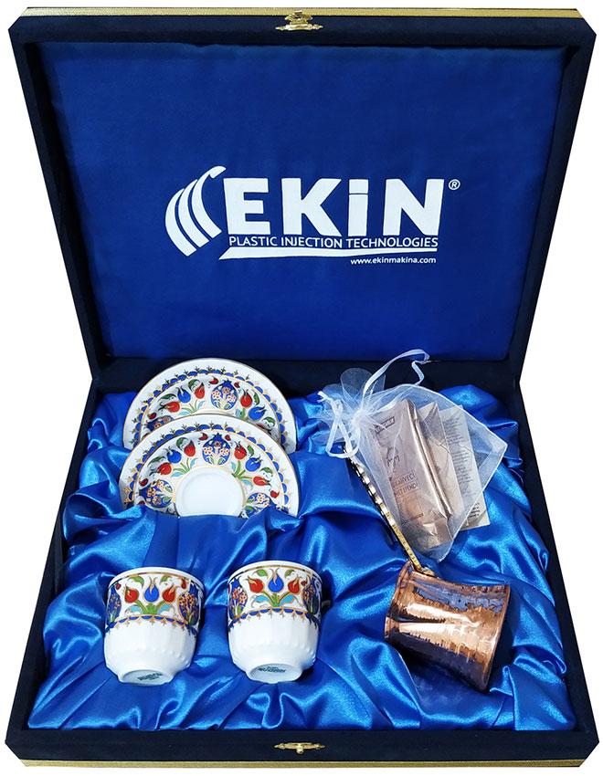 Baskılı Hediyelik  Kutulu Cezveli Kahveli Türk Kahvesi Fincan Setleri