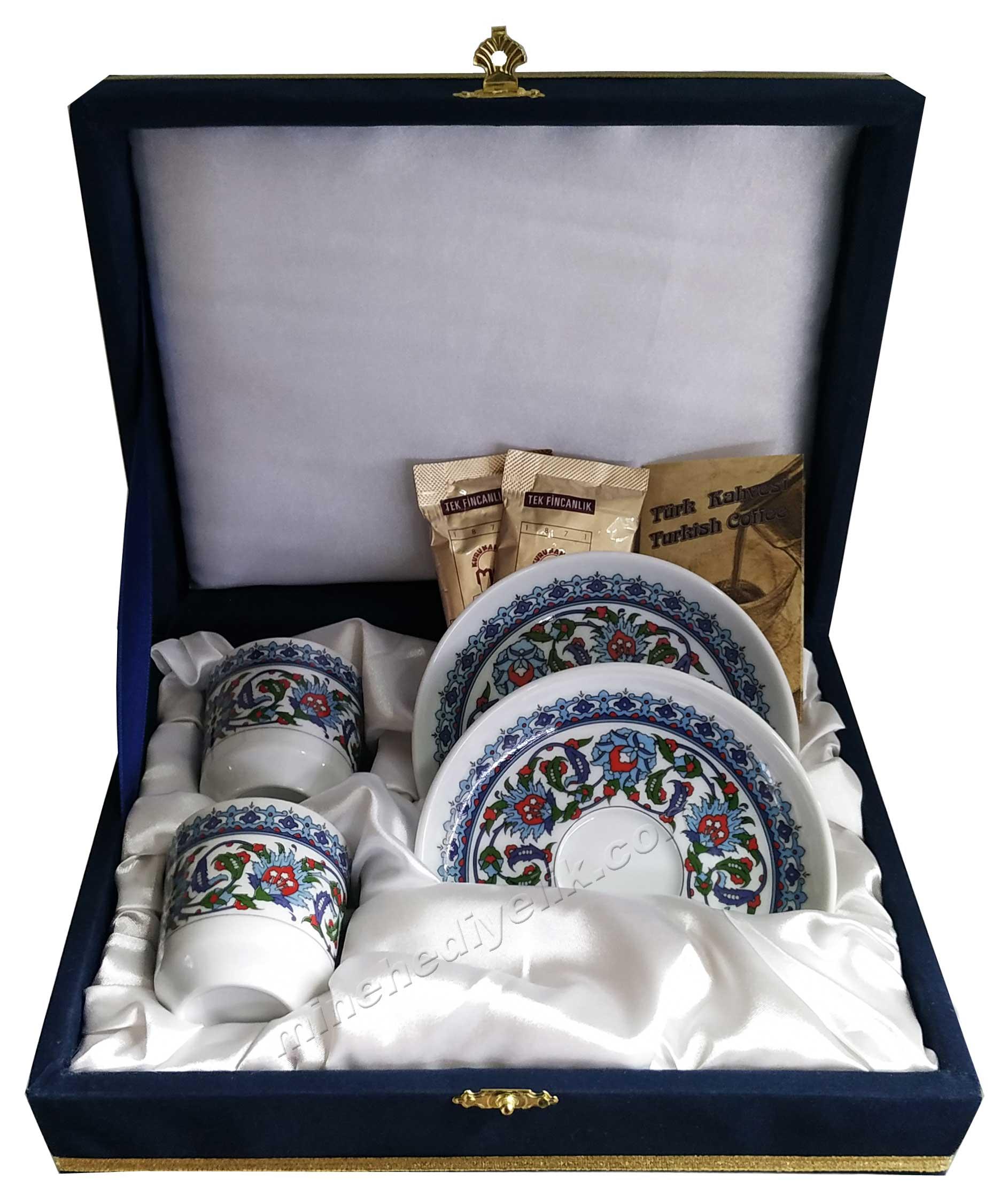 Kaliteli Kişilik Kahve Fincan Setleri Özel Tasarım Kutularda Klasik Desenli Motifli Kahve Hediyeli Osmanlı kahve Fincanı