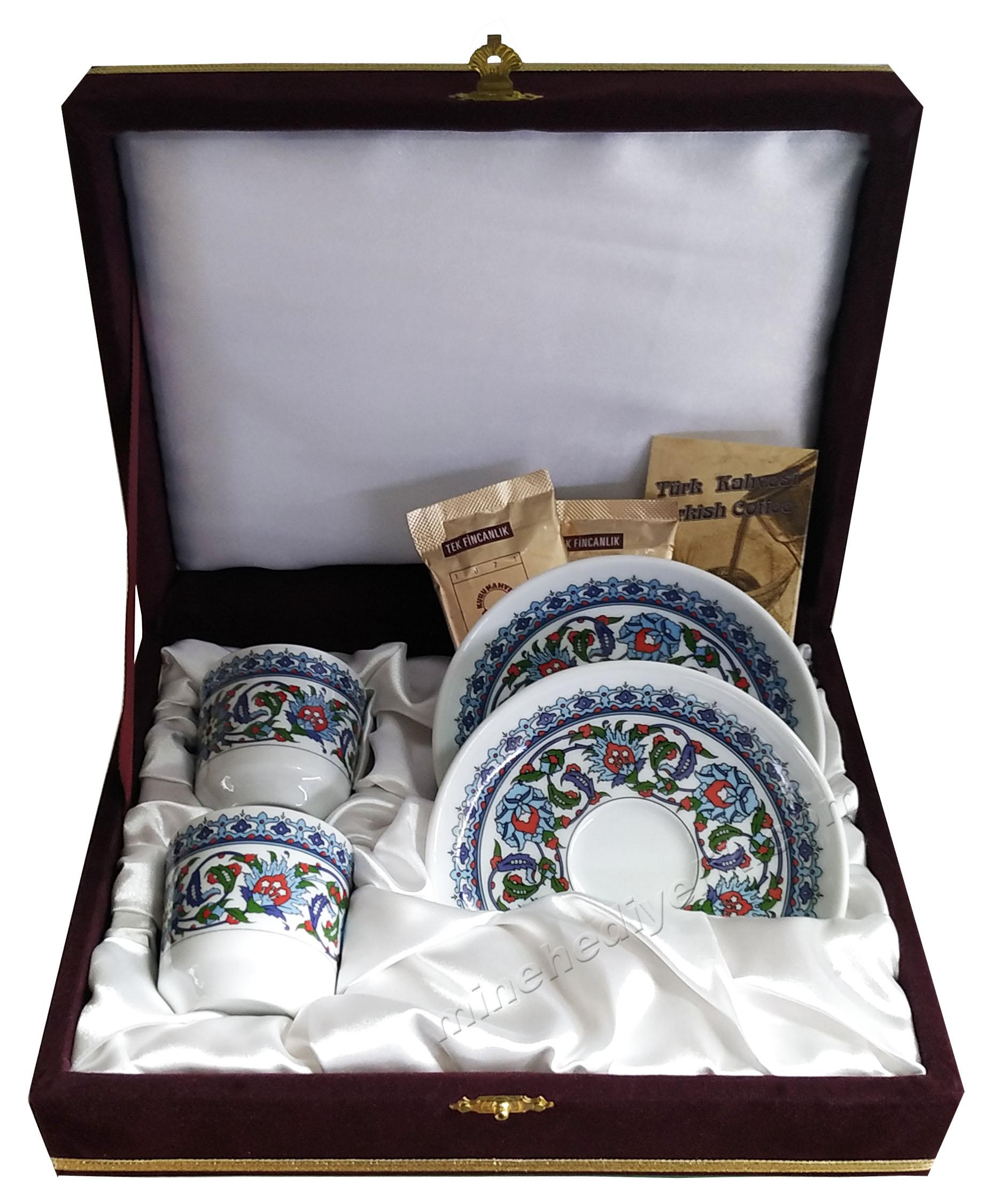 Kaliteli Kişilik Kahve Fincan Setleri Özel Tasarım Kutularda Klasik Desenli Bordo Kutulu 2'li setler Osmanlı Fincanı