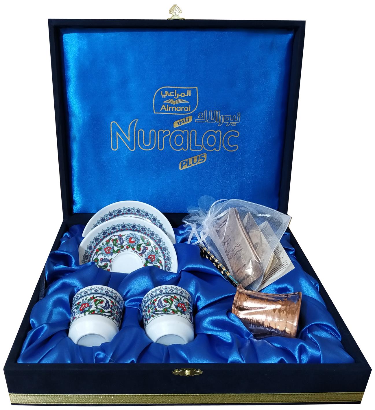Promosyon tanıtım ürünleri Bakır Cezveli Kahveli  İkili Kahve Takımları Kadife  Kutuda Logo Uygulamalı