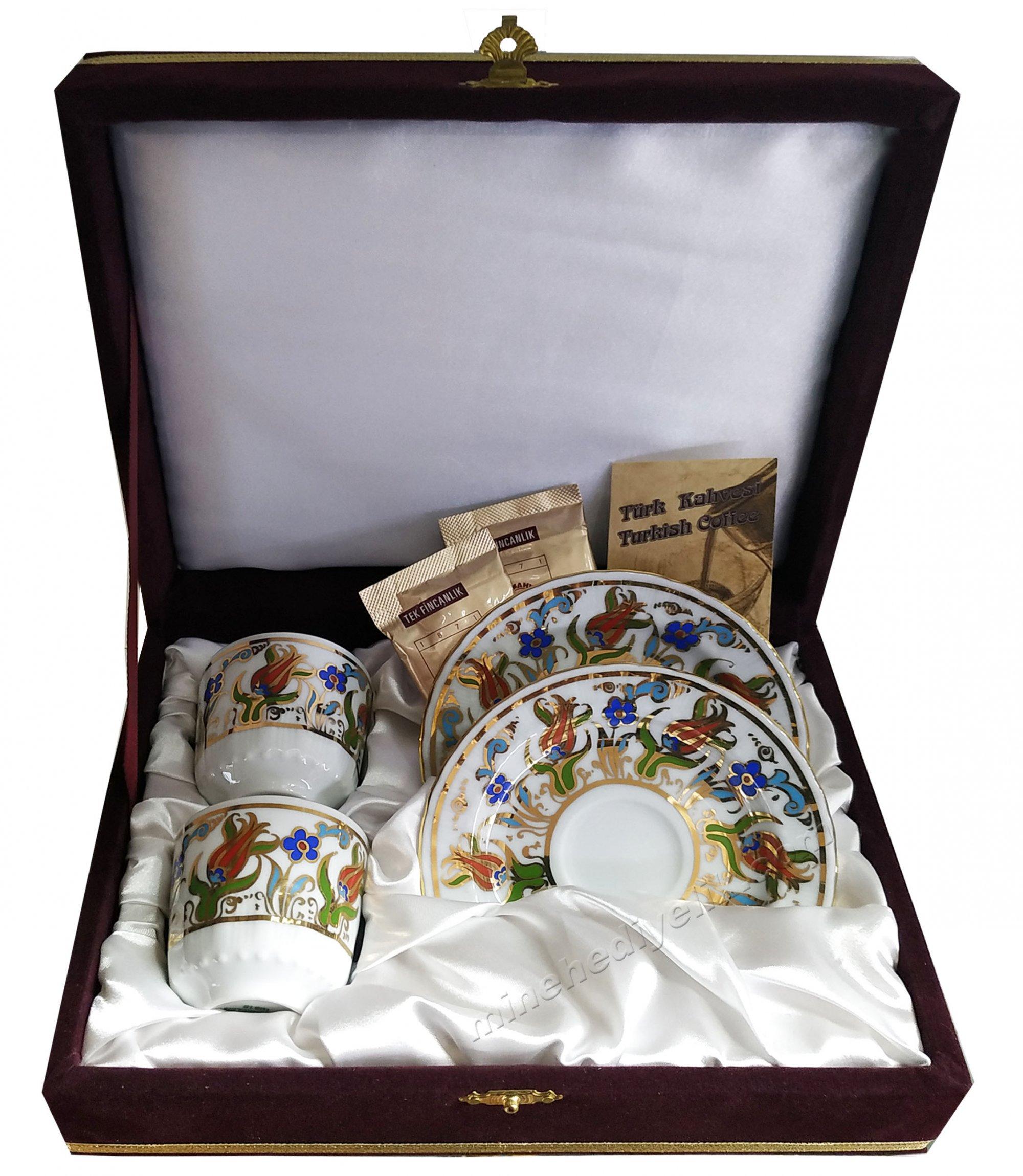 Kaliteli Kişilik Kahve Fincan Setleri Özel Tasarım Kutularda Lale Penç Kahve Hediyeli 2'li keyif seti Fincanı