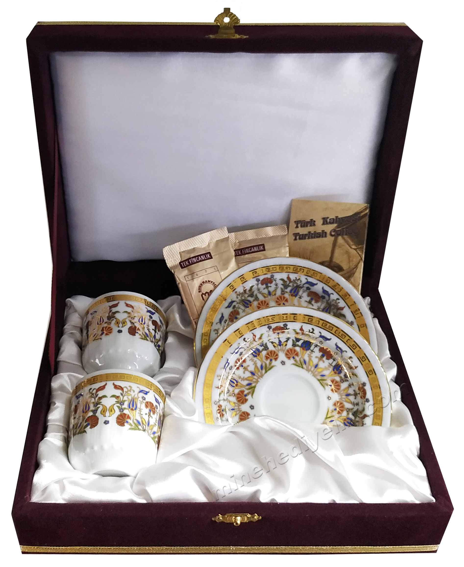 Kaliteli Kişilik Kahve Fincan Setleri Özel Tasarım Kutularda Versace Desenli Türk Kahveli 2 li kahve seti Osmanlı