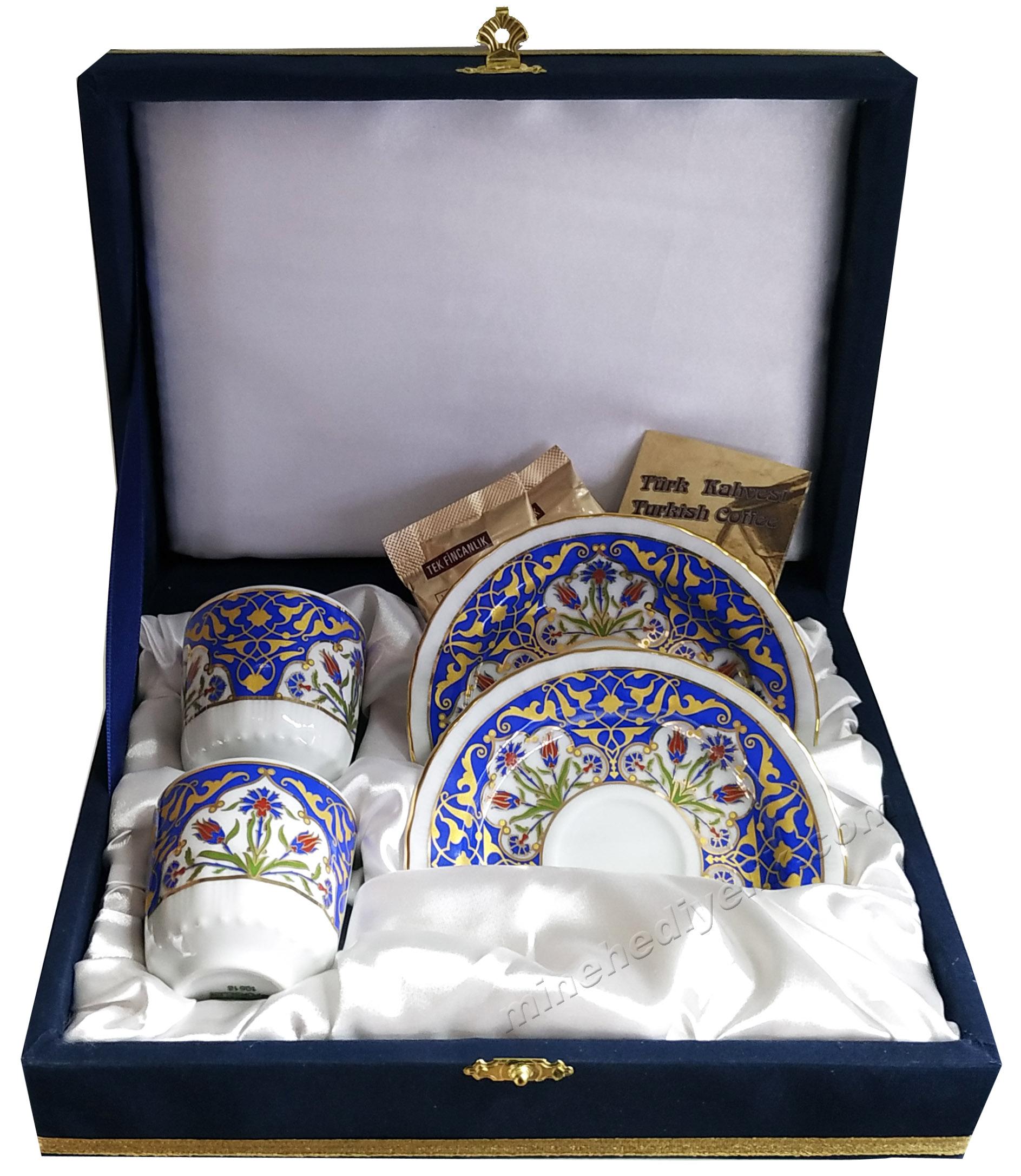Kaliteli Kişilik Kahve Fincan Setleri Özel Tasarım Kutularda Yeni Model Fincanlar Türk Kahvesi 2 li fincanlar