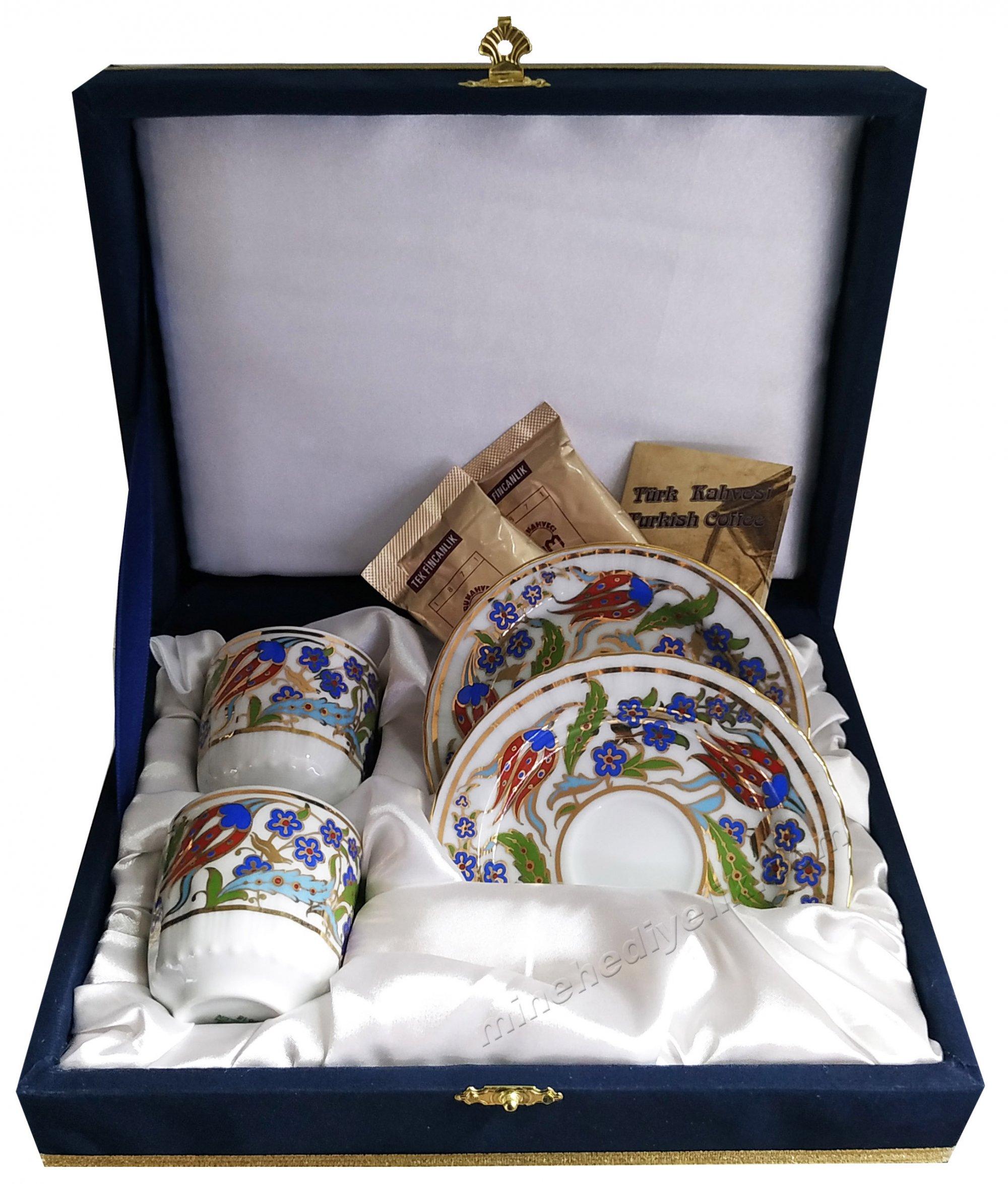Kaliteli Kişilik Çiftli Kahve Fincan Setleri Özel Tasarım Kutularda Yeni Model Fincanlar lalezar Desen Osmanlı
