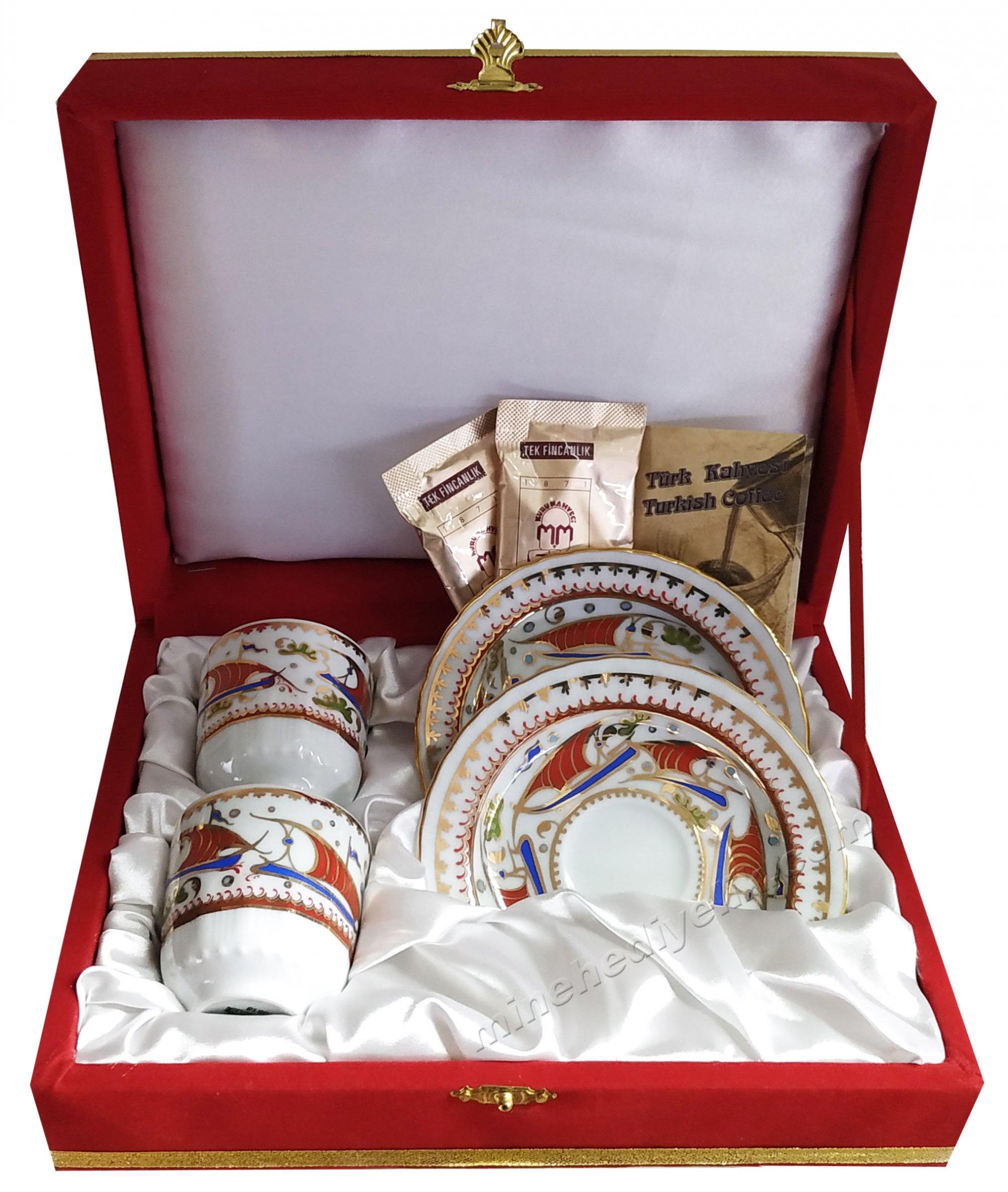 Osmanlı İznik Kalyonlu Gemili Özel Tasarım Kahve Fincan Takımları Çift Kişilik Kahveli Kahvenin Yapılışı Bilgi Kartı