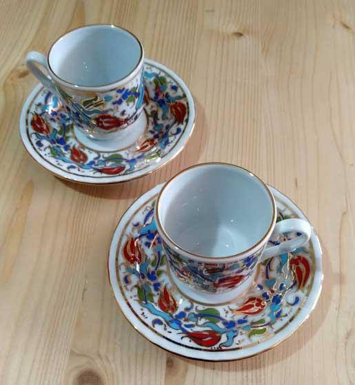 Güral Porselen Fincan Takımları Altın Yaldızlı Osmanlı Çini Desenli Türkiye anısı hatıralar Baskılı promosyon kutulu kahve fincan takımı