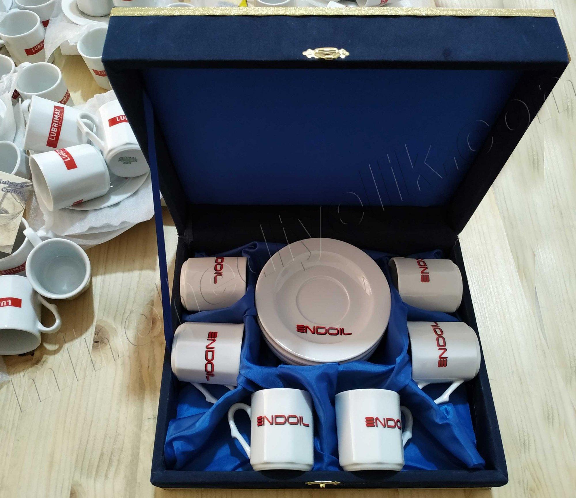 6 Kişilik Kurumsal Promosyonluk Logolu Kahve Fincan Setleri