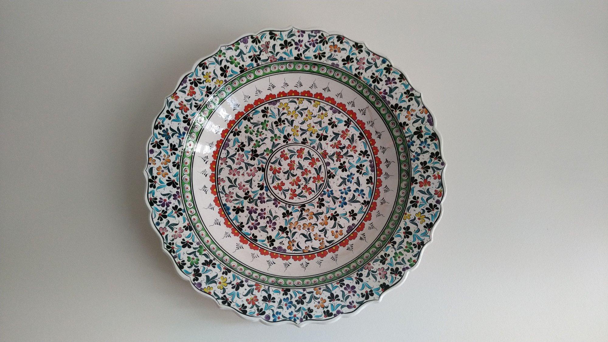Osmanlı Çini Sanatı Örnekleri Klasik İznik ve Kütahya el yapımı çinileri  Klasik Desen Samur Fırça iznik ve Kütahya çini Tabak