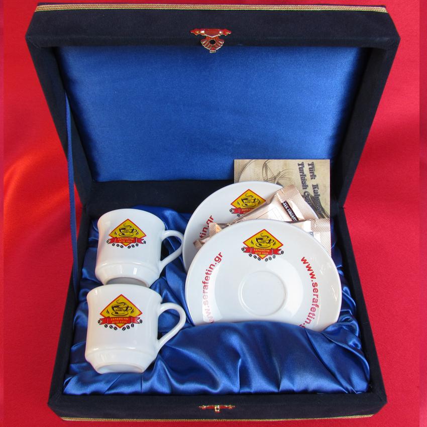 Beyaz Fincana Logo Baskısı Kurumsal Misafirler İçin Ziyaret Kabul Anısına promosyon amaçlı kahve ikili kahve fincan seti