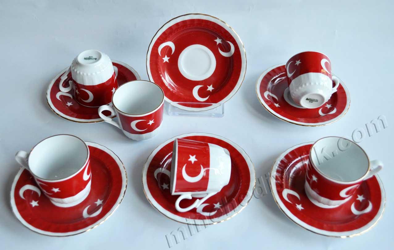 Ay yıldız Türk Bayrağı Fincan Takımları Altılı  6 lı Takım Hediyelik altı Kişilik kurumsal promosyon Kahve Fincanları Toptan Satış Fiyatları