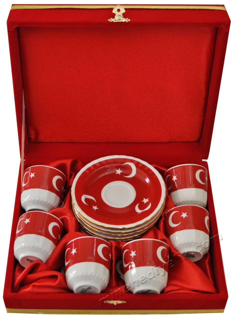 Ay yıldız Türk Bayrağı Fincan Takımları Kadife Kutulu Kırmızı Kadife Kutuda Hediyelik altı Kişilik kurumsal promosyon Kahve Fincanları Toptan Satış Fiyatları