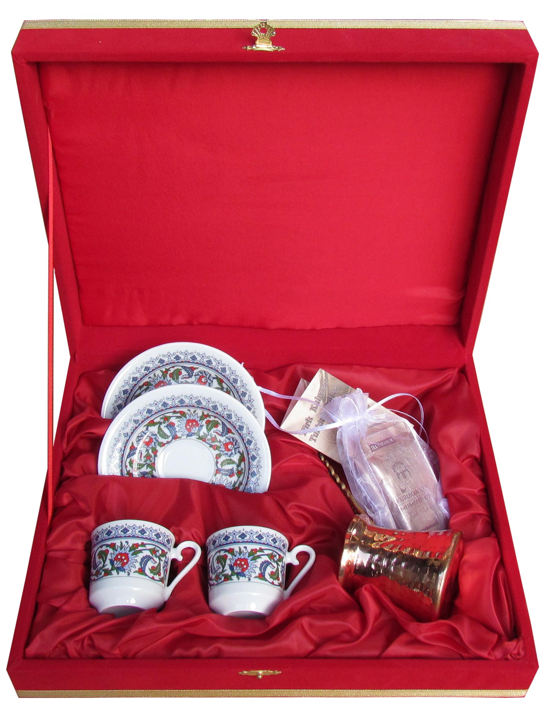Kırmızı Kadife Kutuda Kütahya Porselen Bakır Cezveli Kahveli İkili Fincan Setleri
