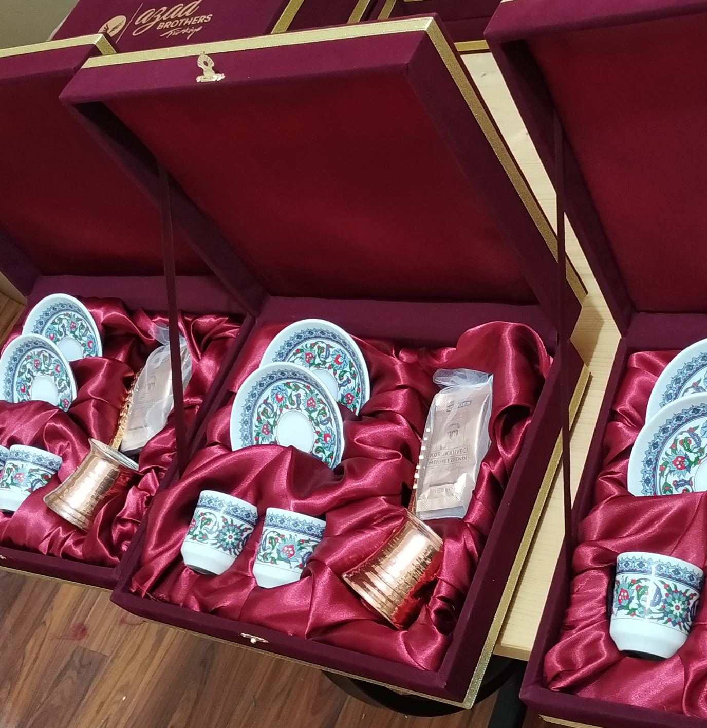 Kadife Kutulu 2 li kahve takımı  setleri Logo Baskılı Hediyelik Cezveli İkili Türk Kahvesi Fincan Setleri Kahve Fincanı Dükkanı otantik hediye