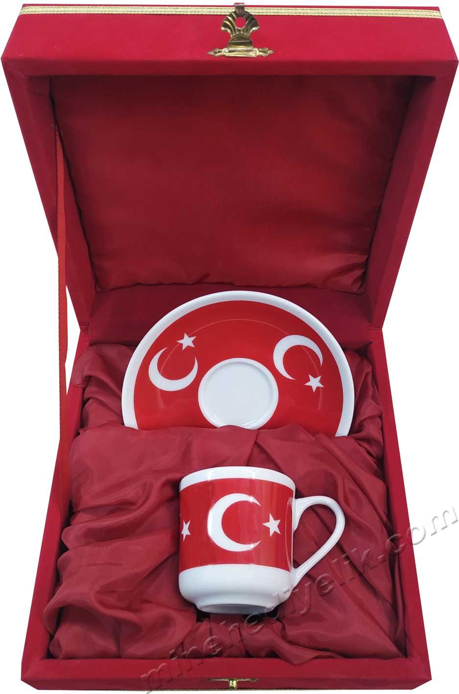 Tekli Ay yıldız Türk Bayraklı Kahve Fincan Seti  Kırmızı Kadife Kutulu