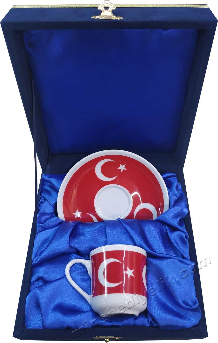 Tekli Ay yıldız Türk Bayraklı Kahve Fincan Seti  Lacivert Kadife Kutuda