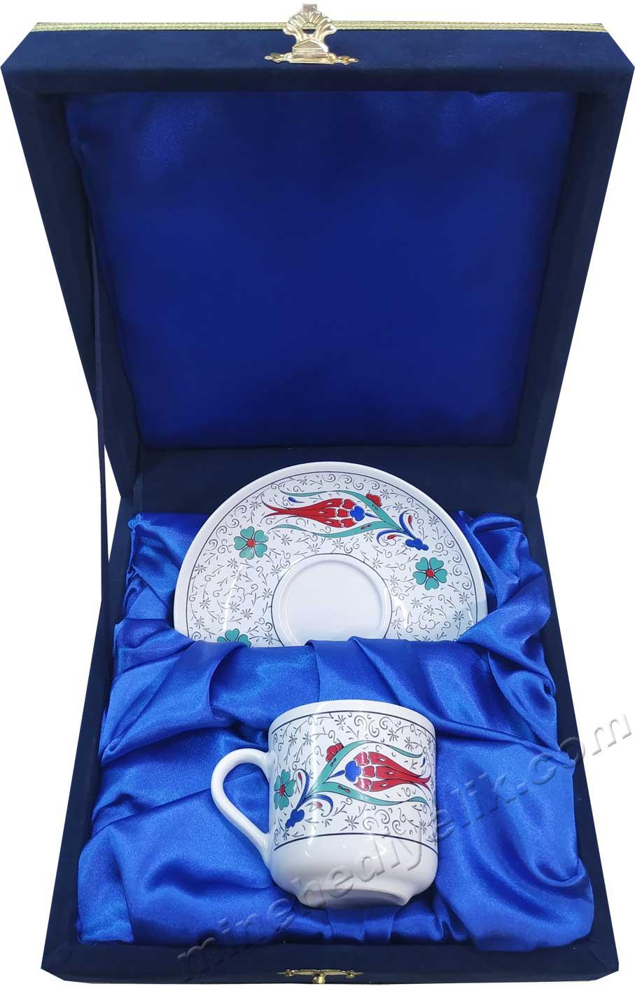 Klasik Haliç Lale Desenli Türk Kahve Fincan Takımı Tek Kişilik Kadife Kutuda