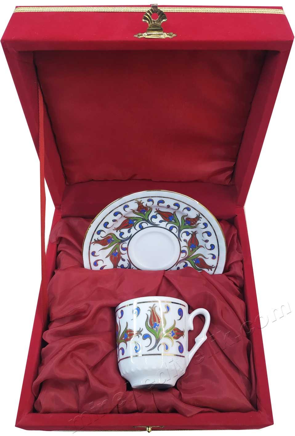 Lalezar Kırmızı Kutuda Hediyelik Tekli Kahve Fincan Takımı
