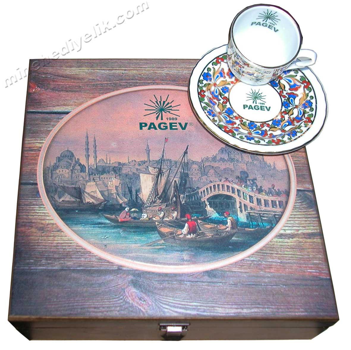 Eski İstanbul  Boğaz  Manzaralı Hediyelik Kahve Setleri  Yolcu Vapurları ve Tekneler Yabancılara verilebilecek kaliteli ve kalıcı lüks (lux) hediyeler