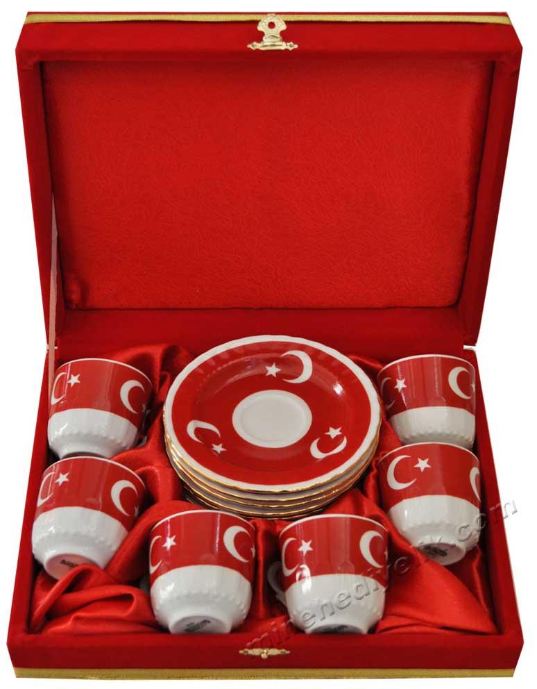 Kırmızı Kutularda Ay Yıldız Motifli  Hediyelik Altılı Fincan Seti Kadife Kutulu Belediyeler İçin Nikah Hediyeleri, Düğün ve Nikah Salonları için 6 Kişilik Hediyeler türk bayraklı fincan takımları