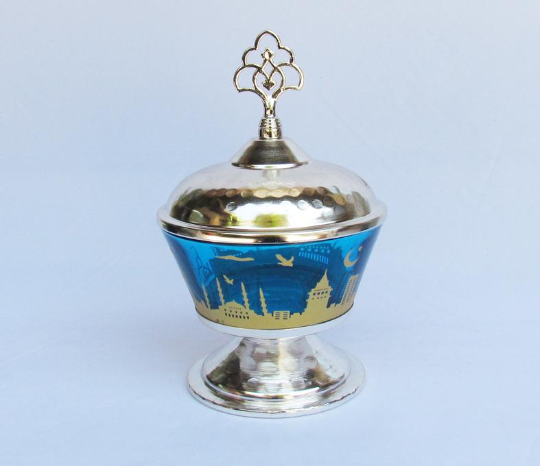 İstanbul Görseli Şekerlik Mavi Camlı Gümüş Kaplama