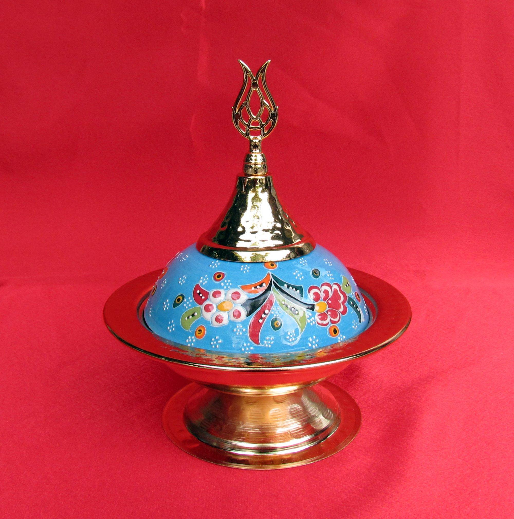 Çinili Lokumluklar Turkuvaz Renkli Rölyefli Kabartma Kase  Klasik Osmanlı Mutfağı