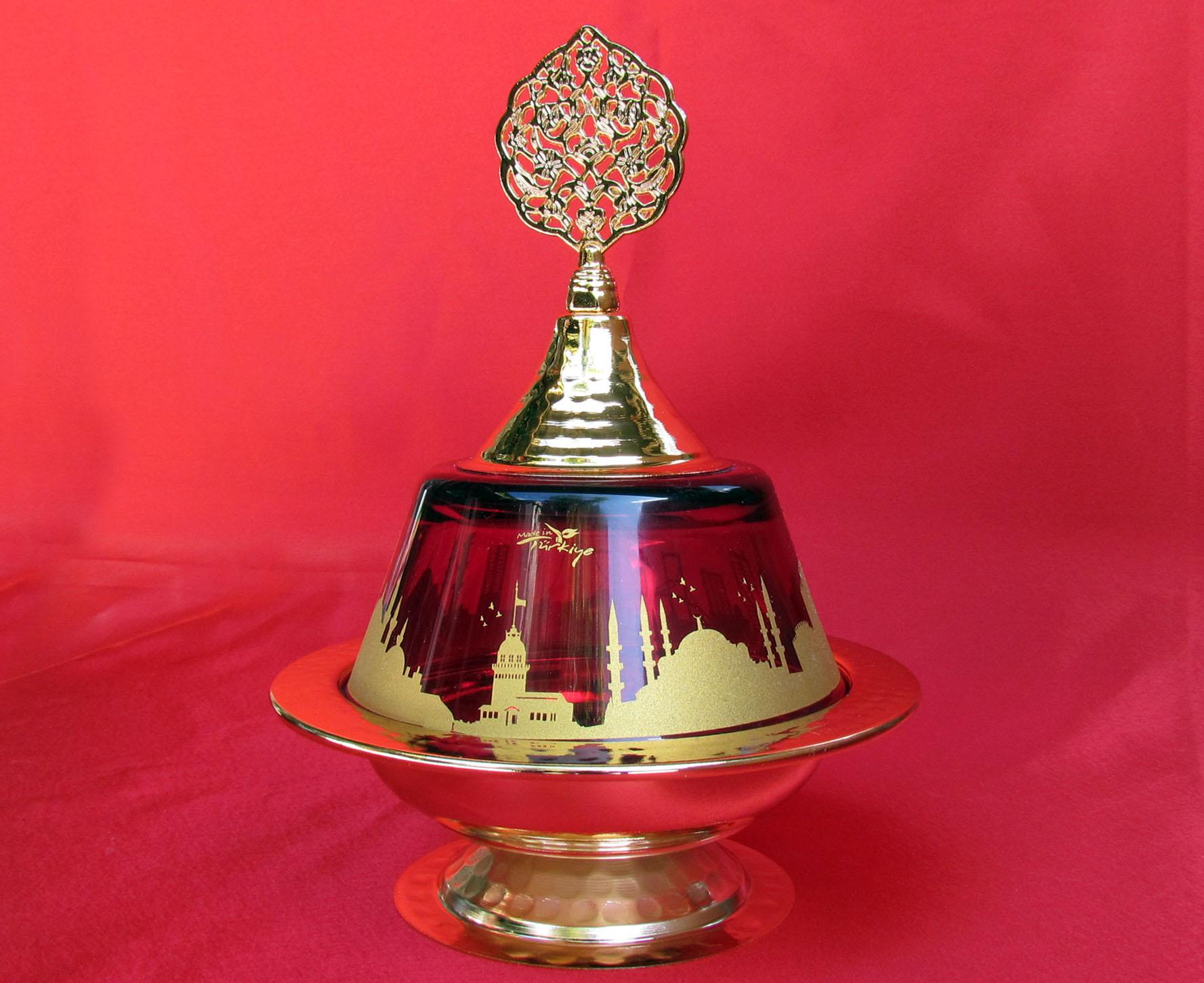 Camlı Şekerlikler İstanbul Hatırası  Kırmızı Camlı Altın Kaplamalı