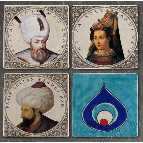 Doğal taşa baskı Hürrem Sultan,Kanuni,Fatih ve Nazar Boncuklu