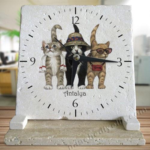 dekoratif masa saatleri acil logo baskılı doğal taş hediyeler masa üstü kalıcı dekoratif hediyelik eşyalar