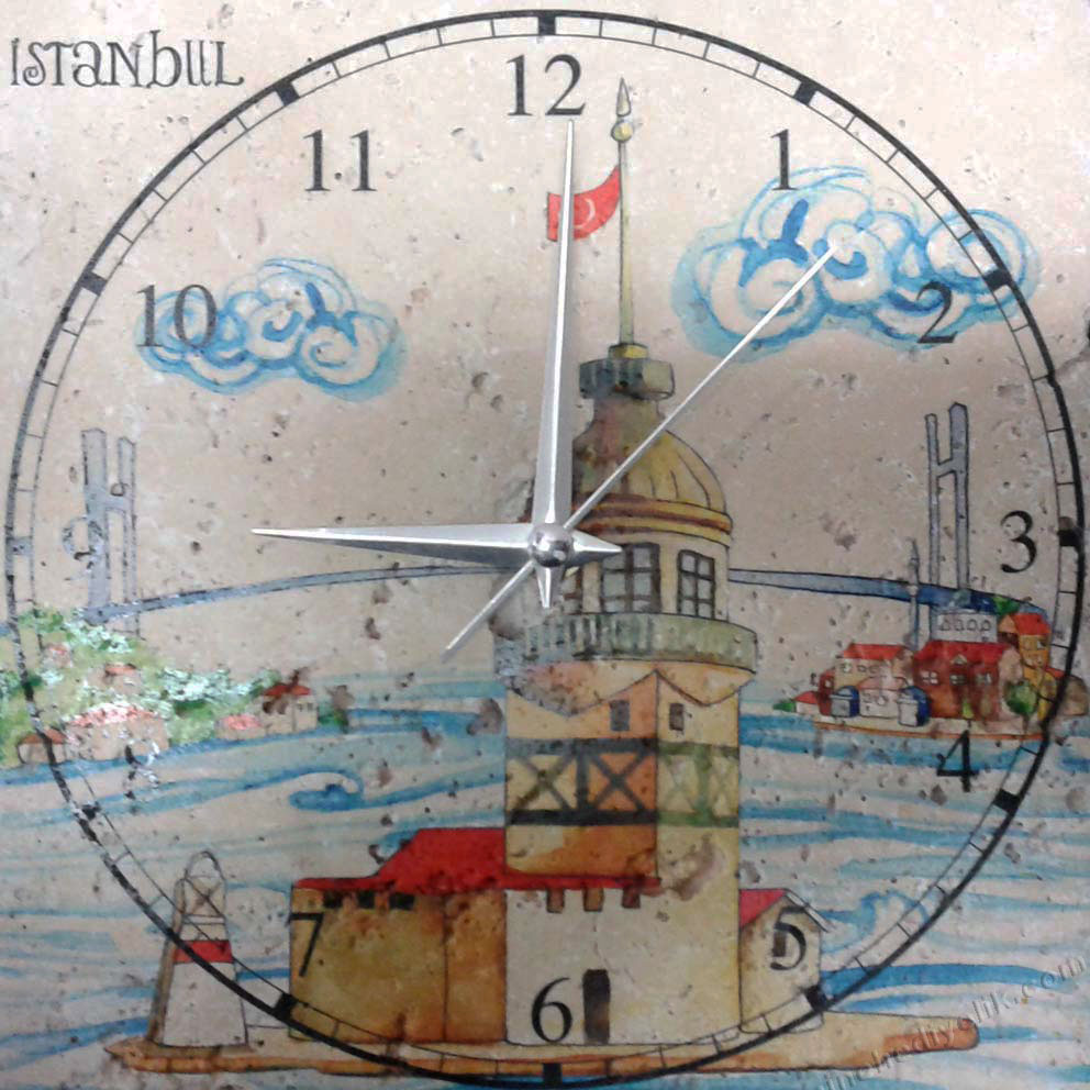 Türkiye ve İstanbul u hatırlatacak  otantik ve kalıcı doğal taş masaüstü saatler turistik amaçlı yöresel baskılı masa saatleri