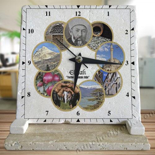 logo ve isim baskılı doğal taş masa saatleri imalat ve toptan satış fiyatları ucuz promosyonlar