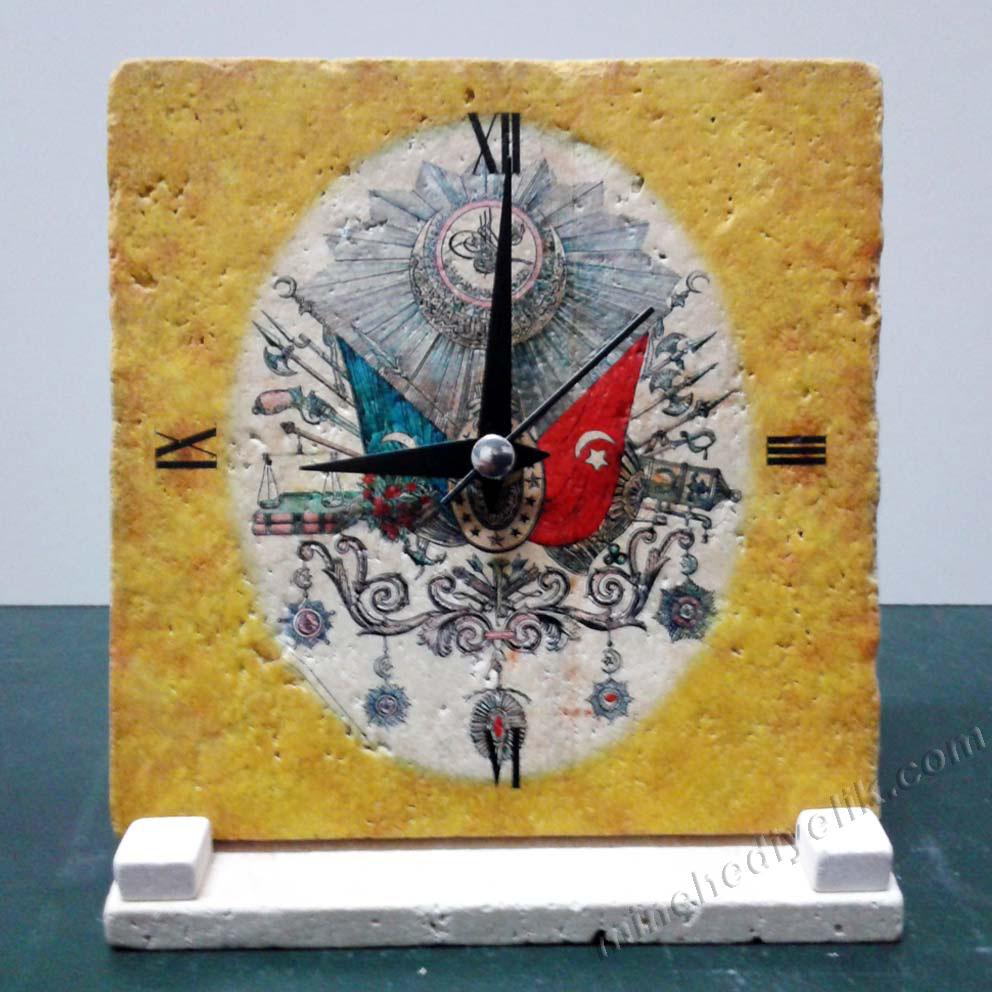 Osmalı Tuğralı masa üstü hediyelik dekoratif saat toptan ucuz uygun fiyatlı dekoratif promosyonlar