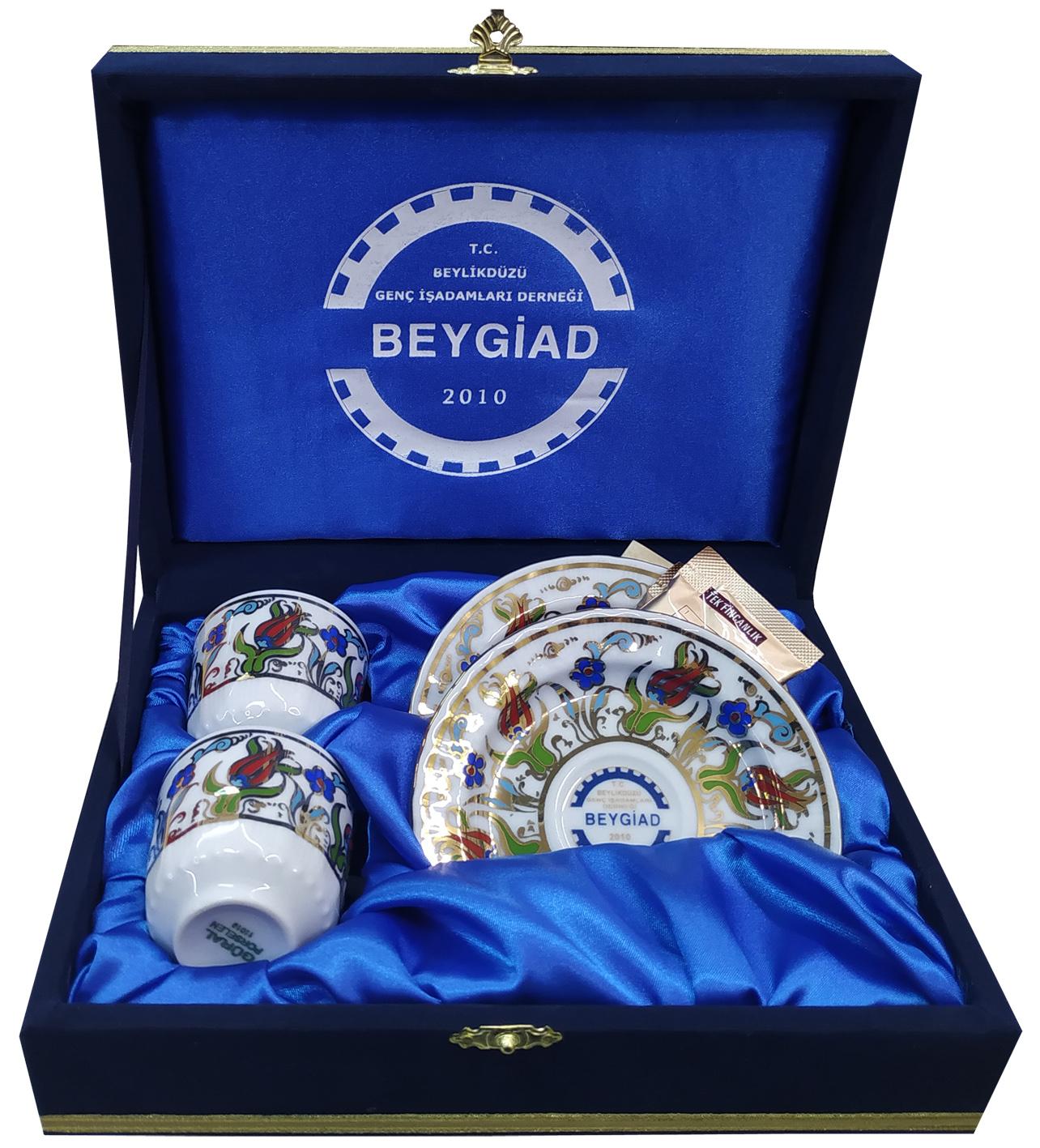 Kurumsal Logo Baskılı Kahve Fincan Takımları İkili Kadife Kutulu firma logolu kahve fincanı promosyon kahve paketi sepeti