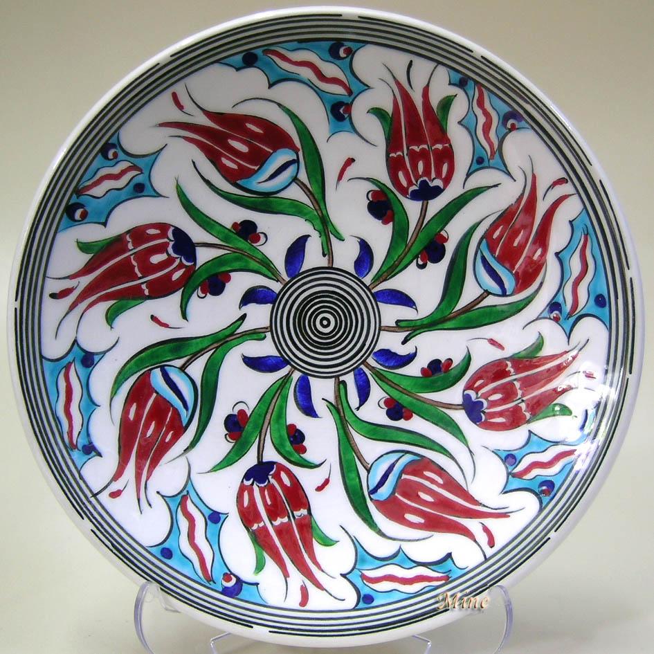 TR200101-4 Sonsuz Laleler Desenli Çini Tabaklar Rüzgar Gülü   Klasik Desen Samur Fırça iznik ve Kütahya çini Tabak