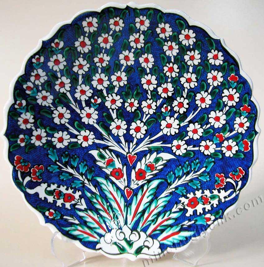 TR200101-1 Hayat Ağacı Motifi Lacivert Zeminli Klasik Osmanlı Motifleri kaliteli çiniler