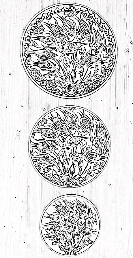 Osmanlı tarzı mekan dekoru üçlü tabak setleri, tabak seti çeşitleri, tabak seti motifleri, tabak seti desenleri
