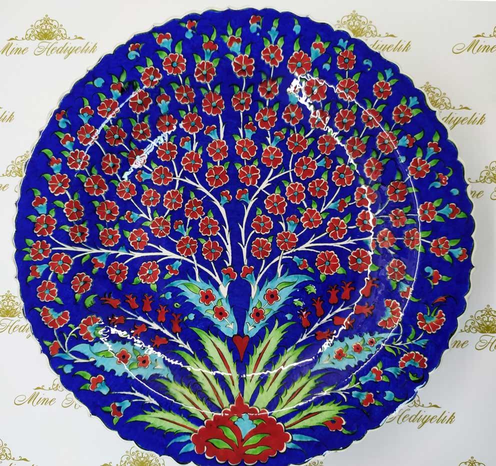 Mavi Zeminli Hayat Ağacı Desenli 40cm Çini Tabak