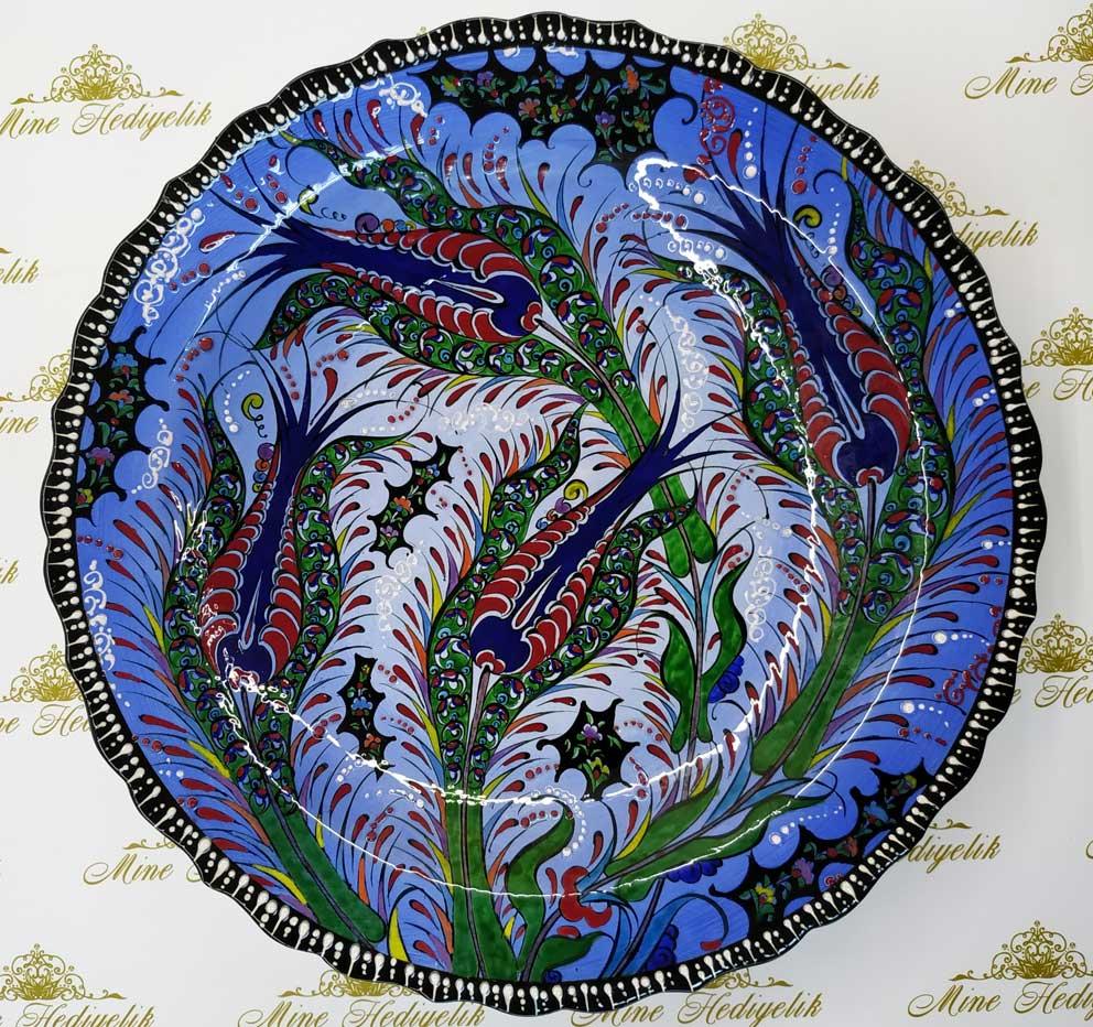 Lalezar 40cm Çini Tabak  Mavi Zeminli Türkiye anısı hatıralar