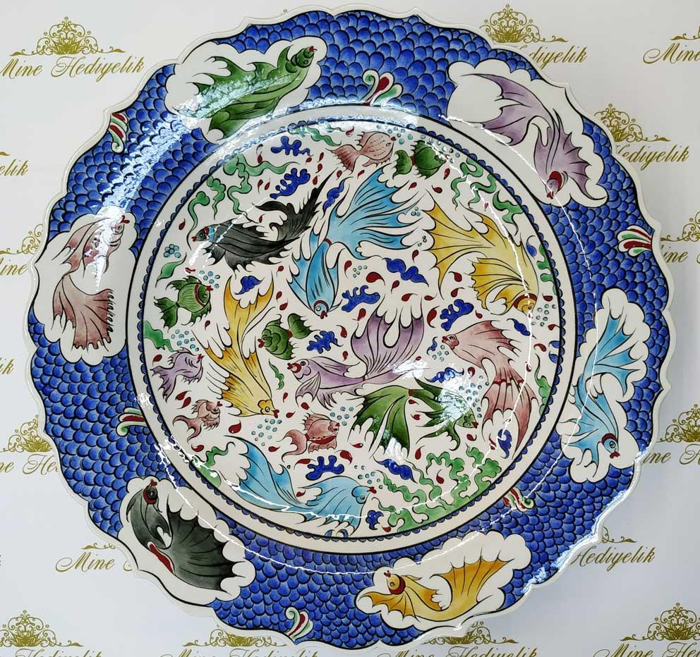 Klasik İznik Balık Desenli Çini Tabak En Güzel Çini Desenleri