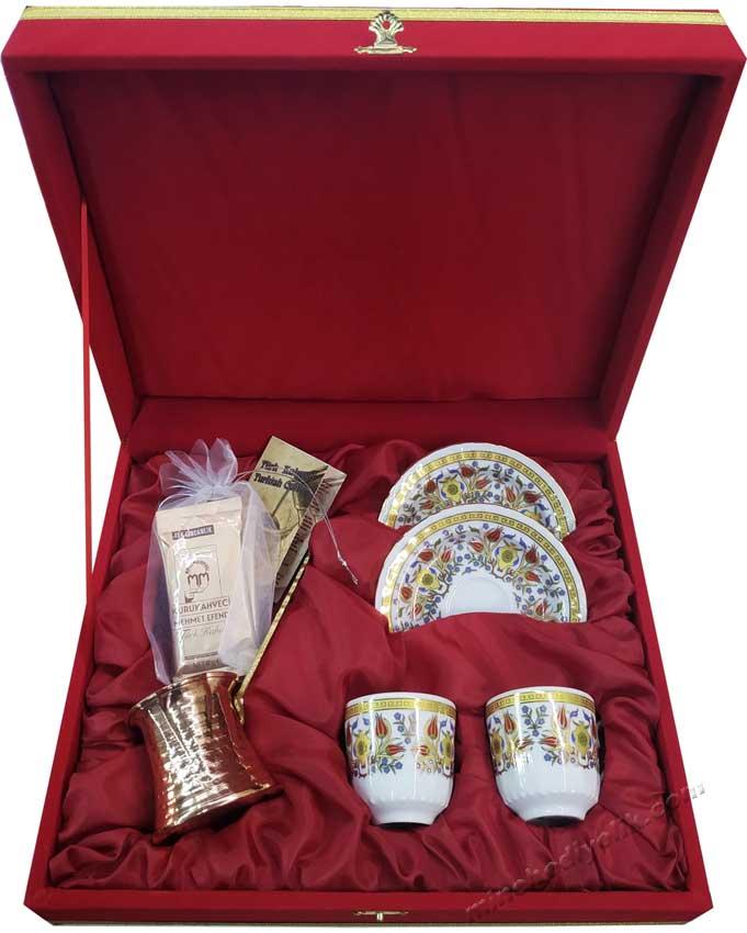 Nostaljik Hediyelik Kahveli Bilgi Kartlı Bakır Cezve İkili Kahve Fincan Setleri
