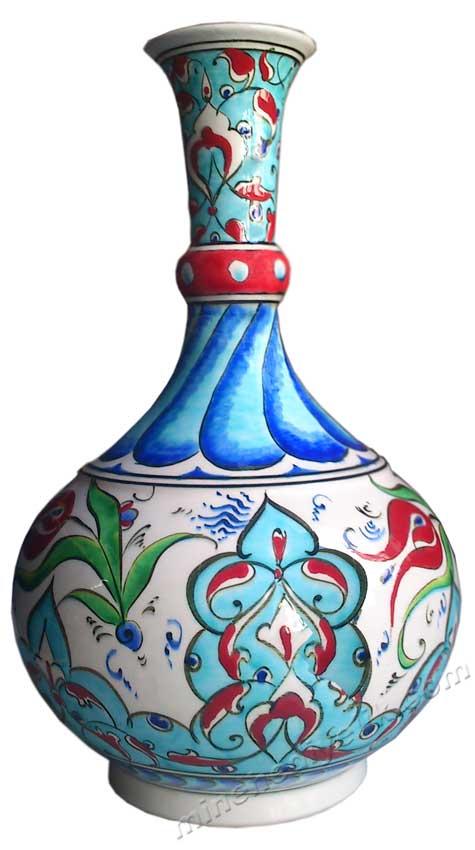 Özel Mekanlar İçin Özel Dekoratif Hediyeler , Geleneksel Sanatlarımızdan El Yapımı  Çini Vazo Modelleri klasik dekorasyon amaçlı Osmanlı İznik çiniler renkli çini vazolar milli saraylar Yıldız çinileri