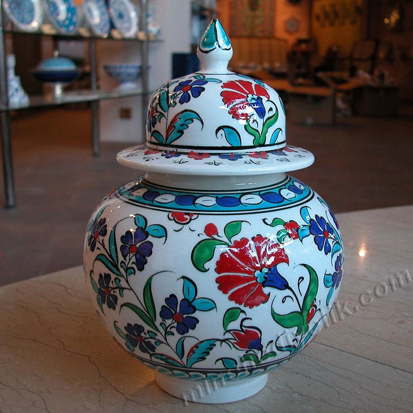 15 cm el yapımı işlemeli çini kavanoz karanfil desenli klasik renkli samur fırça küre kavanozlar, Kütahya, İznik, Osmanlı küpler