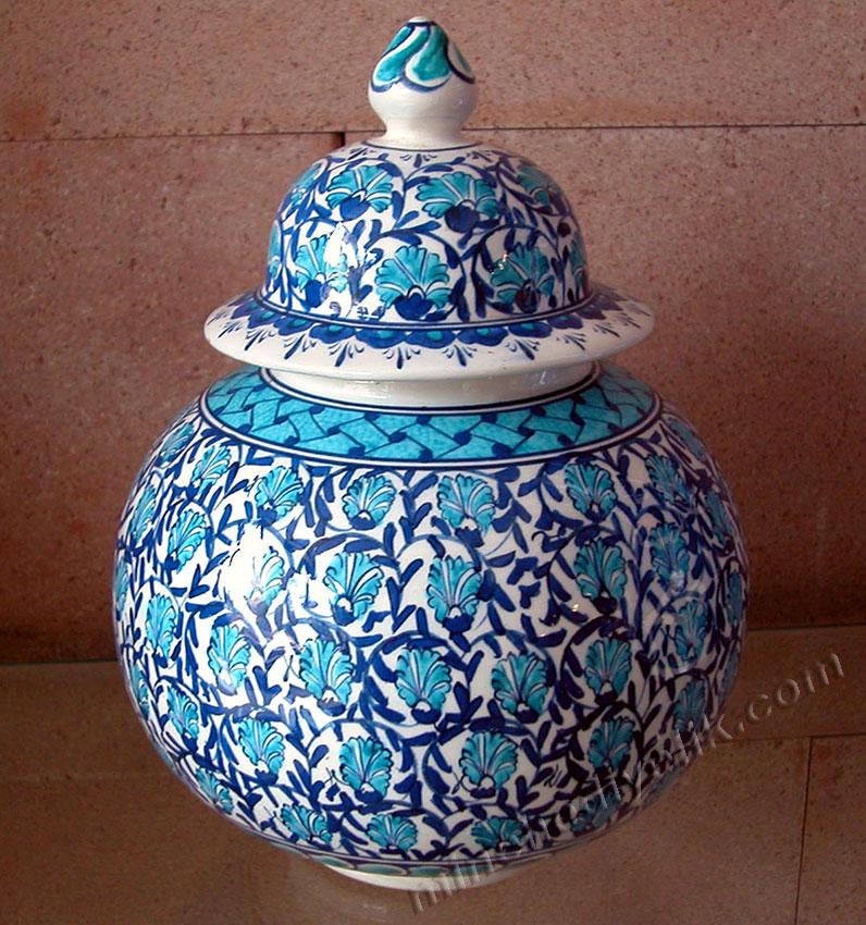 15 cm el yapımı işlemeli çini kavanozlar klasik tek kalem mavi beyaz karanfil çizimli kavanoz, dekoratif küpler