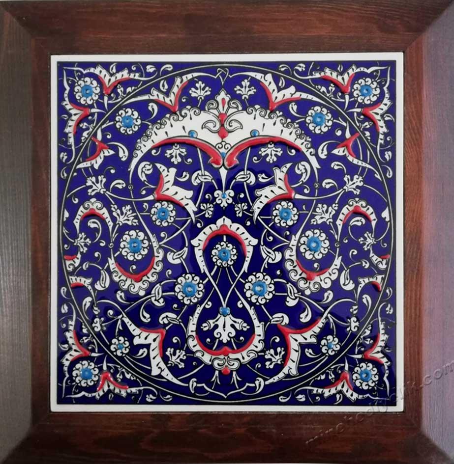 İznik Rumi Desenli lacivert Kobalt Zeminli Kurumsal Hediyelik Promosyon Çini Tablolar Hediyelik Dekoratif çiniler geleneksel Kültürel Hediyeler
