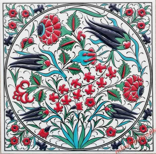 Lale Gül ve Sümbül Desenli Kurumsal Protokol Hediyesi 20m  x 20cm Çini Karo ve Panolar kütahya İznik Stili Osmanlı Tarzı Hediyelik Dekoratif çiniler