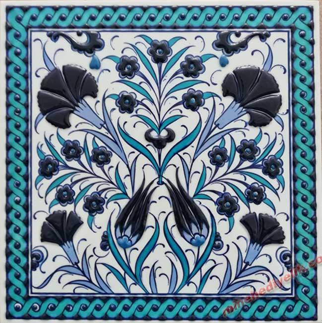 Mavi Beyaz Osmanlı İznik Çinileri El Yapımı Kurumsal Promosyon Hediye Seçenekleri Hediyelik Dekoratif çiniler geleneksel Kültürel Hediyeler mağazası