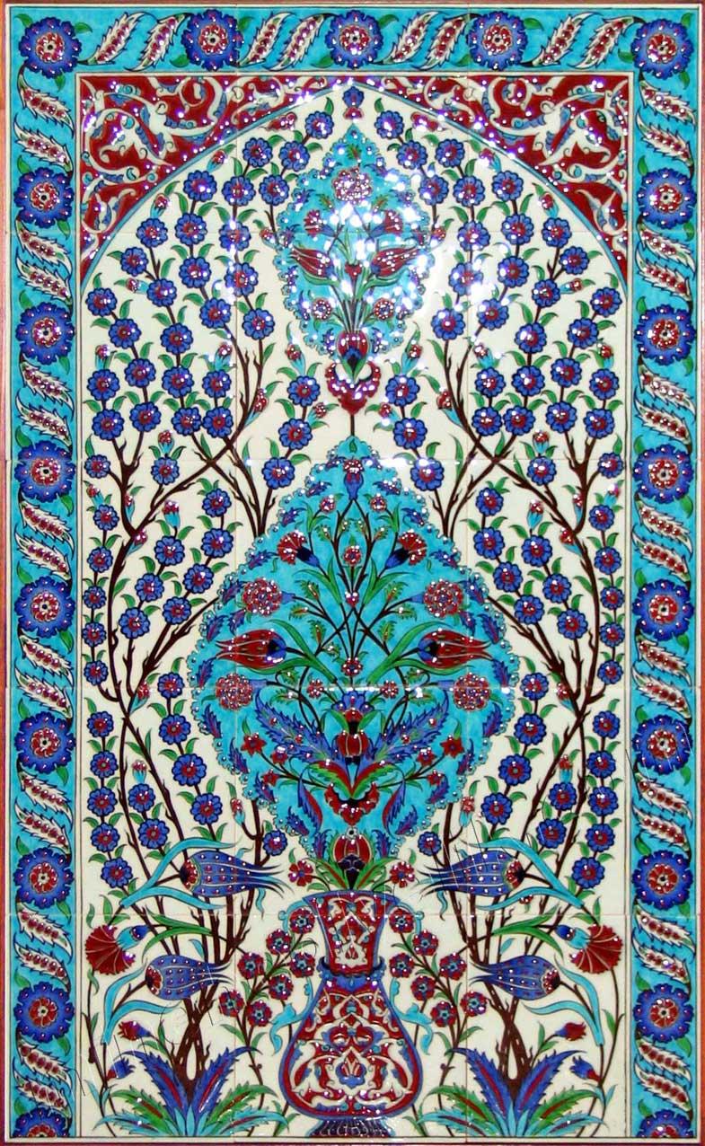 16. yüzyıl Osmanlı İznik mimari duvar Çinileri replika tasarımları Kütahya seramik ve çini atölyesi çini pano atölyesi handmade Turkish islamic art ceramic tiles