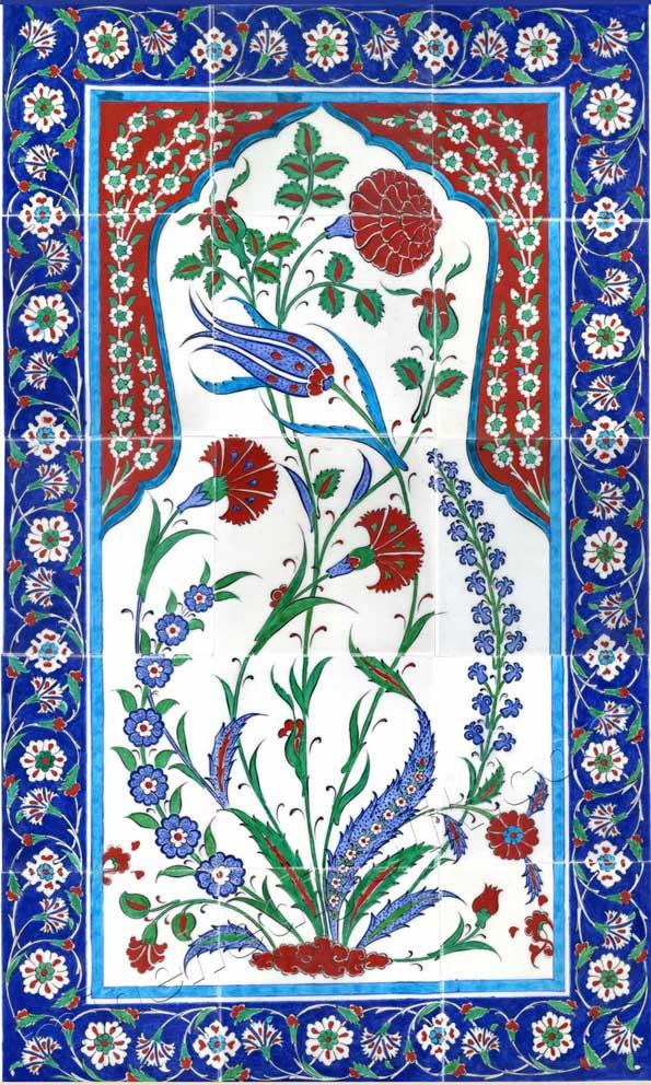 El yapımı çini ve seramik dekorasyon amaçlı Osmanlı İznik mimari çiniler çini tasarım atölyesi dekorasyon ustası lale ve karanfil desenli çini tablolar